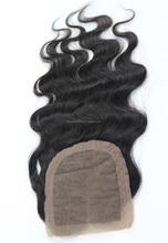 Unprocessed human hair 100% indian silk base closure body wave