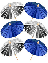 Shiny Blue & Silver Cocktail Umbrellas Food / drinks Party Picks