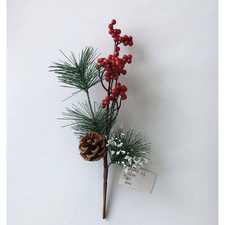 Pequeño Artificial Pino recoge la estimulación Berry las agujas de pino rojo Berry flor adornos de Navidad flor