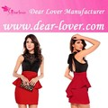 2014 vermelho strapless xxxxl vestuário xl vestido peplum