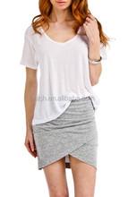 T Shirt OEM 2015 New Fashion V-Neck T Shirt In White