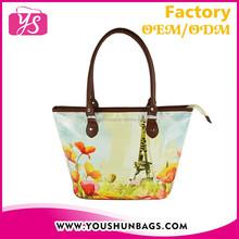 custom printed china fashion pu woman leather handbag