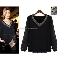 HJC-1097 2015 Autumn plus size women clothing New Arrival long sleeve V neck chiffon blouse