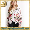 Printing pu leather floral design baseball jackets wholesale