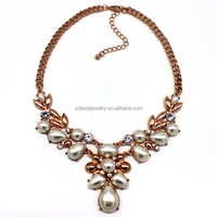 2015 top sell statement pearl & crystal necklace