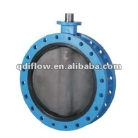 Flange butterfly valve with iron body, rubber seat, and concentric design