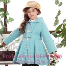 winter children clothing girls warm blue hooded thicken coat jacket overcoat with belt