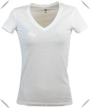 Hot selling custom Womens blank V-Neck sliver tagless printing Logo T-Shirt cheap wholesale