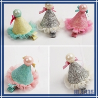Lovely girls cute hair jewellery cheap wholesale allibaba silver ice cream shaped white pearl nice lace kids hair clip