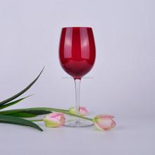 Handmade unique colored red wine glasses