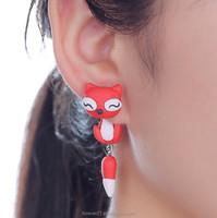 >>> 2015 New Design Handmade Cute Cat ears Stud Earring Polymer Clay Cartoon 3D fashion Animal Earrings For Women /