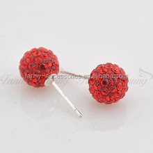 BB019 New Style Shamballa Earring Balls With Crystal Earrings Stud
