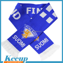 promotional gifts 100% Acrylic custom football scarf knitted pattern /Embroidery scarf
