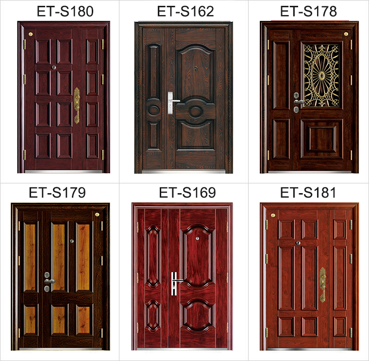 E Top Door Factory Made In China Custom Size Steel Wood Door Glass