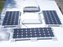 solar panel on the roofs of refrigerated trucks
