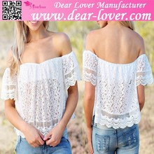 new arrivel factory white off-shoulder lace club top