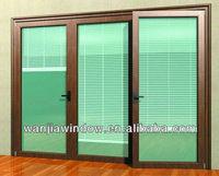 5mm double layer tempered glass aluminum glass door window