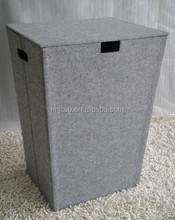 Decorative light gray felt folding laundry hamper