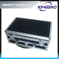 Aluminum locking solid cosmetic case,color wholesales cosmetic case with active tool plate,PVC vanity cosmetic case