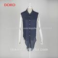 las mujeres blusa 2014 polka dot cuello de la camisa sin mangas