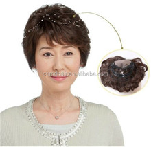 Hand made tied woven human hair U-part curly men women hairpiece toupee wig
