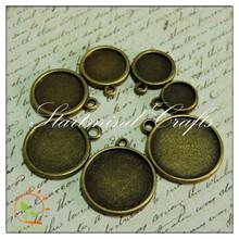Antique bronze round bezel blank pendant charm setting,round cabochons base setting