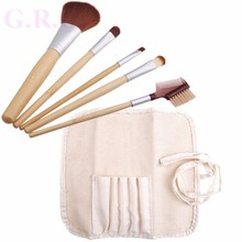 Facotry Soft synthetic Bamboo makeup brush, Bamboo cosmetic brush set, Hot selling BAMBOO 5PCS BRUSH SET