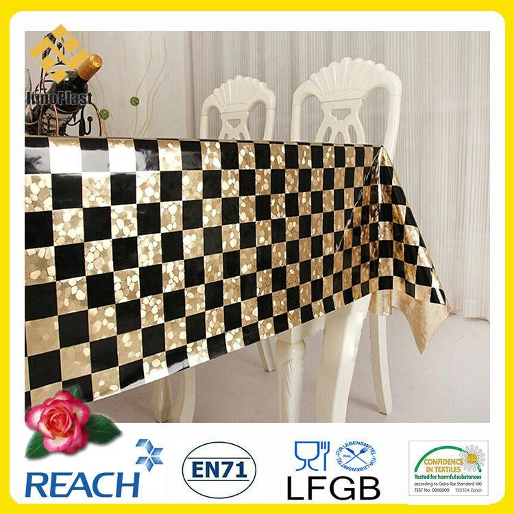 ray noir et blanc nappes chemin de table pvc gaufrage avec de l 39 or noir et blanc de table en. Black Bedroom Furniture Sets. Home Design Ideas