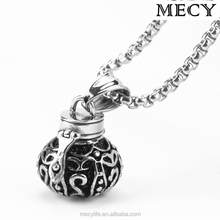 MECY LIFE hot selling stainless steel bottle shape urn pendant