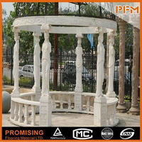European Style Hot Sale Natural round carved gazebo