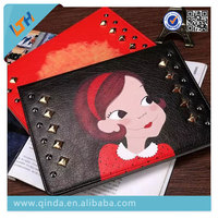 Hot 2015 Newest fashion cartoon girl flip Leather Case For Ipad mini 4 leather Case with protective function