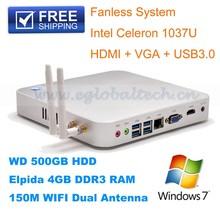 Fanless Thin Client mini desktop computer Intel Celeron1037U Dual Core1.8Ghz, 1080P HD, 3D Game, 4G DDR3, 32G SSD,1T HDD ,WiFi