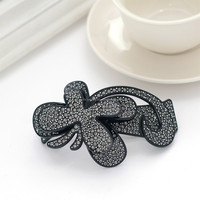 Latest Fashion Black Plastic Clear Crystal Stone Butterfly Hair Clips For Girls