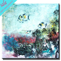 Fashion abstract fish painting for home decor