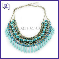 New Jewelry Design Fashion Shoulder Necklace,Blue Rope And Bead Tassel Diffuser elegant Necklace