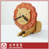 Beech Wood Lion Decoration Desktop Clock