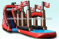 2012 vivid design HOT SUMMER amusement park inflatable exciting pirate slip N slide