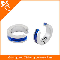 stainless steel india earrig blue plated earring no hole ear piercing jewelry china supplier
