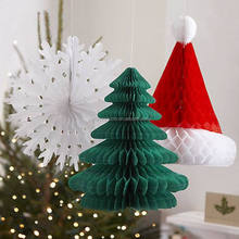 Hanging Tissue Paper Honeycomb Ball For Christmas Party Paper Decorations