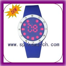 Red lights digital movement colorful led watch sport stainless steel back
