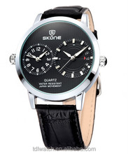 skone Vogue two time zones stainless Steel Case Back Watch