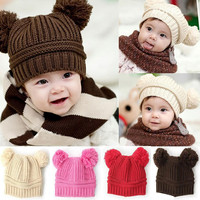 New Korean New Fashion Baby Girls Boys Kids Children Dual Ball Knit Sweater Cap