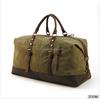 Vintage Genuine Leather Retro Canvas Duffle Gym Luggage Weekend Travel Bag Men