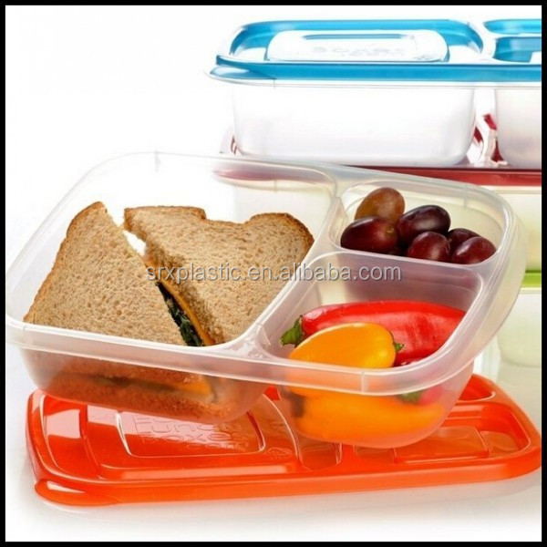new plastic lunch boxes 3 compartment bento lunch box containers set for kids adult custom. Black Bedroom Furniture Sets. Home Design Ideas