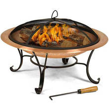 Sturdy Copper Fire Pit With Folding Dome Screen