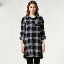 SS15 HOT SALE women fashion loose fit shirts blouse lady spring and summer dress shirt lady black gray plaid shirt