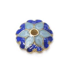 200 pcs of Blue Enameled Flower brass bead caps 8.2mm handmade bead caps