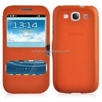 Flip Double Front View Window PU Leather Shock Proof Phone Case For Samsung Galaxy S3