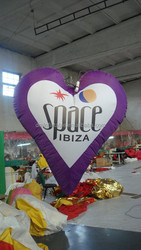 hot sales printed led large inflatable heart for advertising