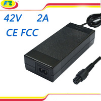 CE FCC electric bike charger 42v 2a power adapter for 2 wheel hoverboard self balancing electric scooter